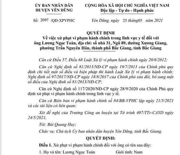Bắc Giang: Không chấp hành quy định phòng chống dịch, một số cá nhân bị phạt nặng ảnh 1
