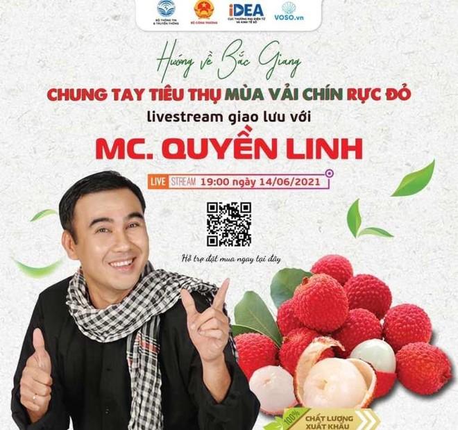 19h hôm nay (14-6), nghệ sĩ Quyền Linh livestream hỗ trợ tiêu thụ vải thiều Bắc Giang ảnh 1