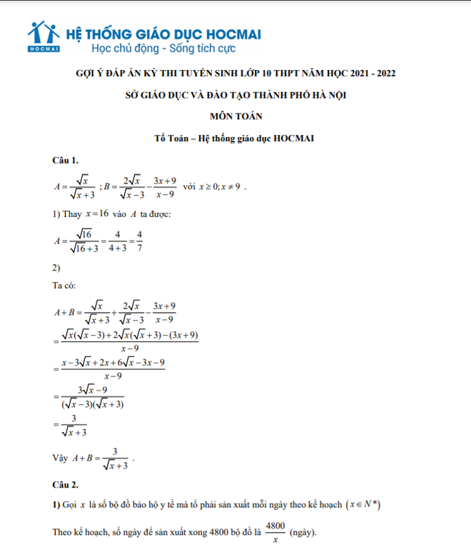 Đánh giá đề Toán thi lớp 10 Hà Nội: Phổ điểm sẽ từ 7-8 điểm ảnh 2