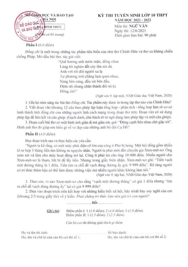Hà Nội công bố đáp án chính thức môn thi lớp 10 ảnh 4