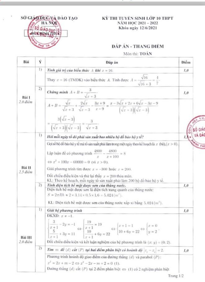 Hà Nội công bố đáp án chính thức môn thi lớp 10 ảnh 2