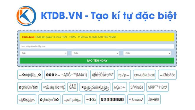 KTDB.VN - ứng dụng tạo kí tự đặc biệt dành cho game thủ ảnh 1
