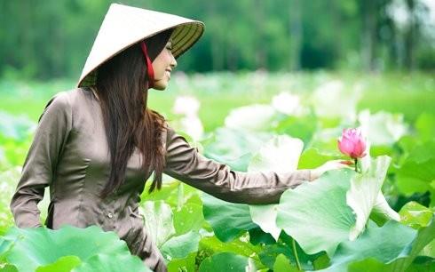 Hoa hậu biển Nguyễn Thị Loan mộc mạc bên đóa hoa sen ảnh 8