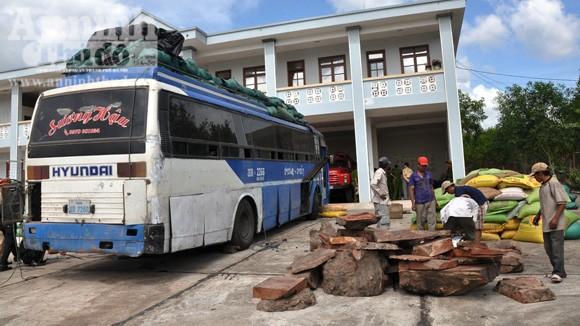 Phát hiện gỗ lậu, động vật hoang dã trên xe khách BKS Lào ảnh 1