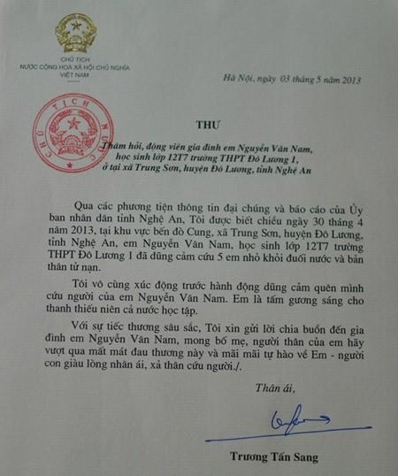Chủ tịch nước gửi thư thăm hỏi gia đình nam sinh cứu sống 5 em nhỏ ảnh 1