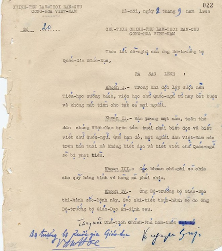 Công bố bản Sắc lệnh về giáo dục do Đại tướng Võ Nguyên Giáp ký năm 1945 ảnh 1