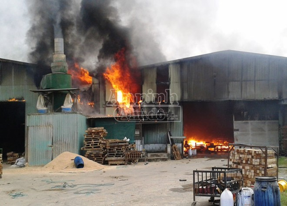 Bà hỏa thiêu rụi xưởng gỗ rộng 1.000 m2 ảnh 1