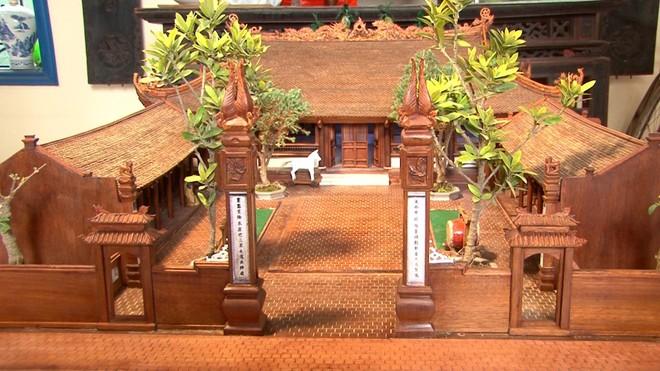 Độc đáo mô hình đình làng bằng gỗ siêu nhỏ ảnh 2