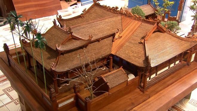 Độc đáo mô hình đình làng bằng gỗ siêu nhỏ ảnh 3