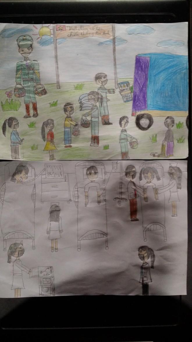Ngạc nhiên với tài năng của bé gái lớp 3 vẽ tranh cổ động phòng chống dịch Covid-19 ảnh 2
