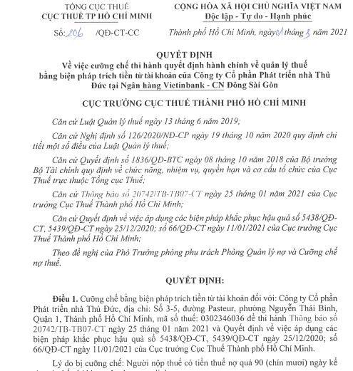 Phong tỏa tài khoản, cưỡng chế trên 451 tỷ đồng tiền thuế của Thuduc House ảnh 1