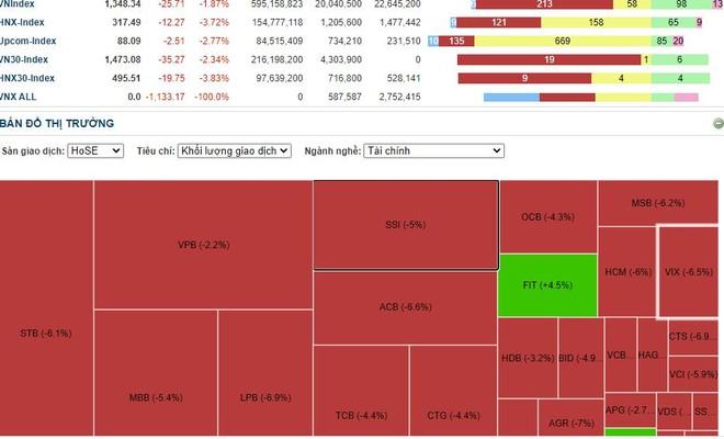 """""""Dẫm đạp"""" lên nhau bán tháo cổ phiếu ngân hàng, VN-Index lao dốc, nhà đầu tư bức xúc vì nghẽn lệnh, kẹt hàng ảnh 1"""