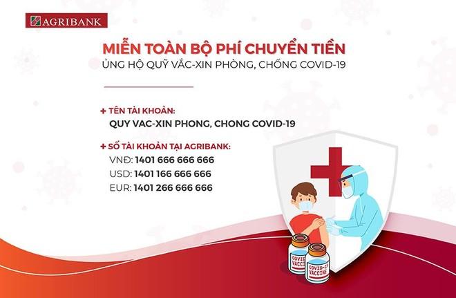 Công bố tài khoản tiếp nhận ủng hộ Quỹ Vaccine phòng, chống Covid-19 tại Agribank ảnh 1