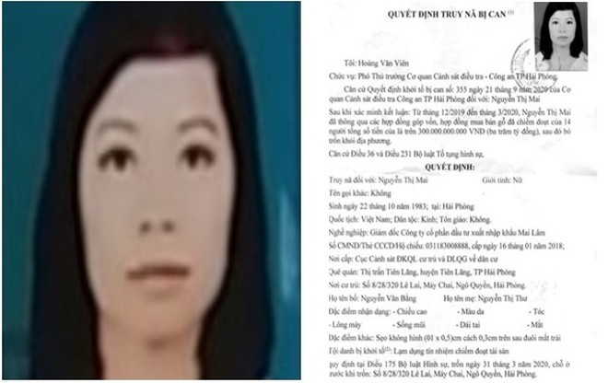 'Biệt tích' cùng hơn 300 tỷ đồng, nữ giám đốc công ty Mai Lâm bị truy nã ảnh 1