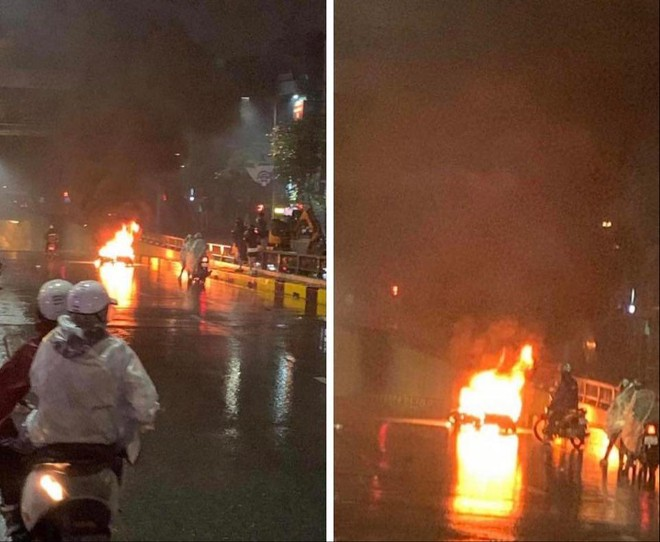 Điều tra vụ ôtô bỏ chạy sau va chạm khiến xe máy bốc cháy trên đường Nguyễn Trãi ảnh 1