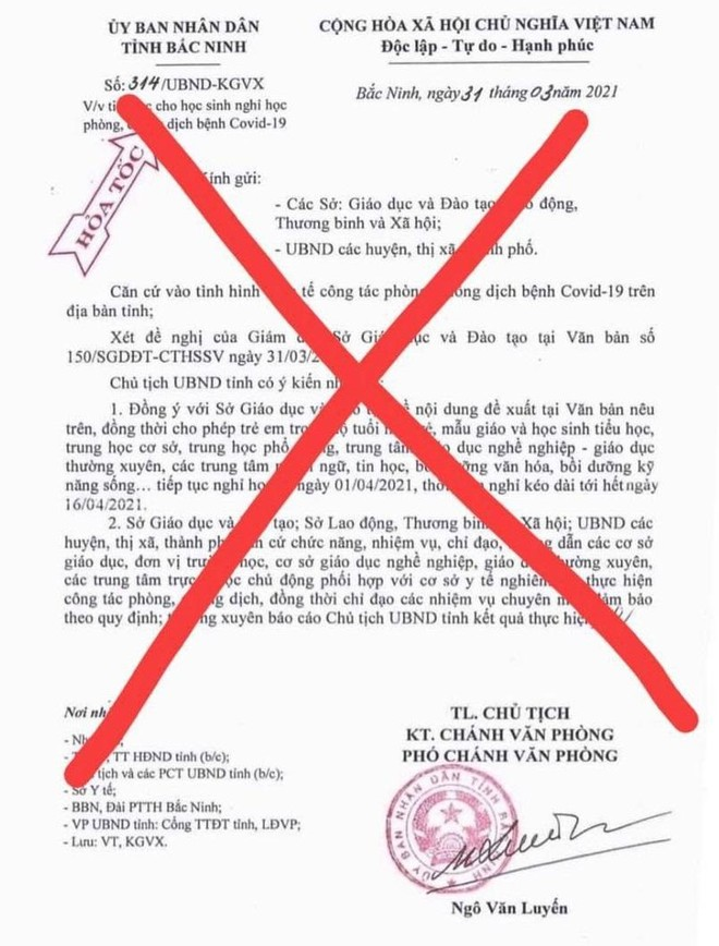 Điều tra vụ giả mạo ý kiến chỉ đạo của Chủ tịch UBND tỉnh Bắc Ninh về việc cho học sinh nghỉ học từ 1-4 ảnh 1