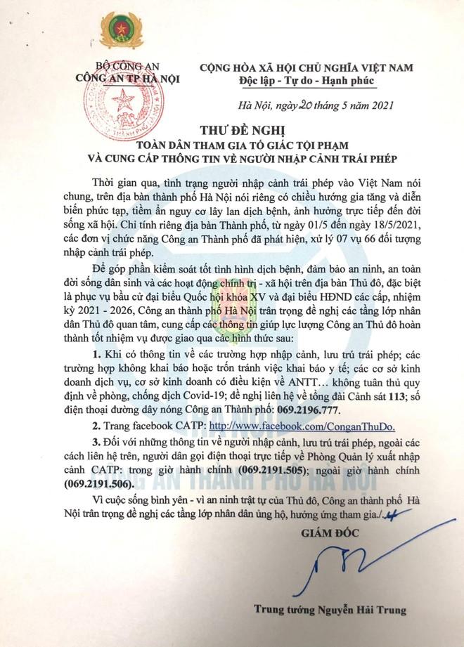Giám đốc Công an Hà Nội gửi thư đề nghị toàn dân tham gia tố giác tội phạm ảnh 1