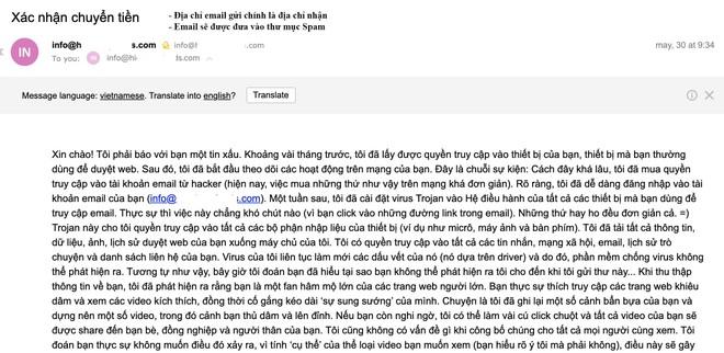 Công an Hà Nội cảnh báo thủ đoạn gửi email tống tiền của tội phạm ảnh 1