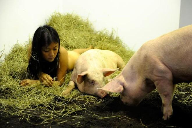 Nữ nghệ sĩ sống trần truồng với lợn trong 104 giờ ảnh 6