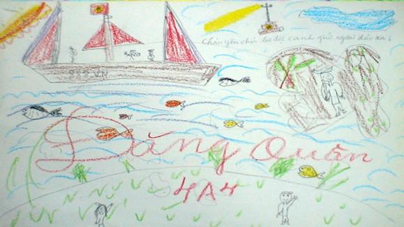 """Tranh học sinh tiểu học Quốc tế Thăng Long """"gửi các chiến sĩ canh giữ biển đảo quê hương"""" ảnh 9"""
