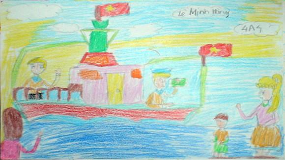 """Tranh học sinh tiểu học Quốc tế Thăng Long """"gửi các chiến sĩ canh giữ biển đảo quê hương"""" ảnh 2"""