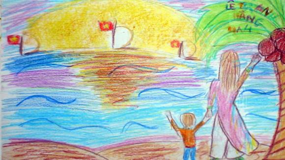 """Tranh học sinh tiểu học Quốc tế Thăng Long """"gửi các chiến sĩ canh giữ biển đảo quê hương"""" ảnh 3"""