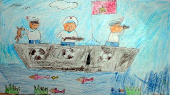 """Tranh học sinh tiểu học Quốc tế Thăng Long """"gửi các chiến sĩ canh giữ biển đảo quê hương"""" ảnh 7"""