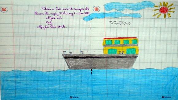 """Tranh học sinh tiểu học Quốc tế Thăng Long """"gửi các chiến sĩ canh giữ biển đảo quê hương"""" ảnh 1"""