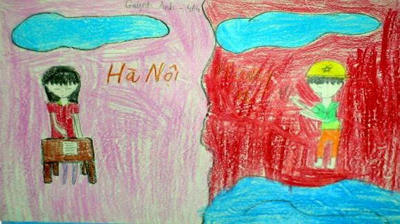 """Tranh học sinh tiểu học Quốc tế Thăng Long """"gửi các chiến sĩ canh giữ biển đảo quê hương"""" ảnh 4"""