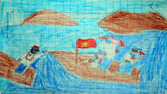 """Tranh học sinh tiểu học Quốc tế Thăng Long """"gửi các chiến sĩ canh giữ biển đảo quê hương"""" ảnh 8"""