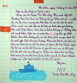 """Tranh học sinh tiểu học Quốc tế Thăng Long """"gửi các chiến sĩ canh giữ biển đảo quê hương"""" ảnh 11"""