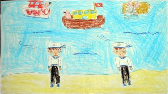 """Tranh học sinh trường Dịch Vọng A """"gửi các chiến sĩ canh giữ biển đảo quê hương"""" ảnh 7"""