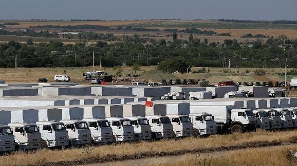 16 xe hàng viện trợ nhân đạo đầu tiên của Nga lên đường sang Ukraine ảnh 1