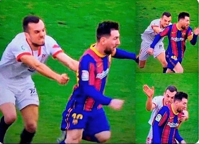 Cầu thủ Sevilla truy cản thô thiển cũng không ngăn nổi Messi ảnh 1