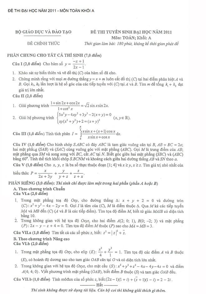 Gợi ý giải môn Toán, khối A kỳ thi ĐH năm 2011