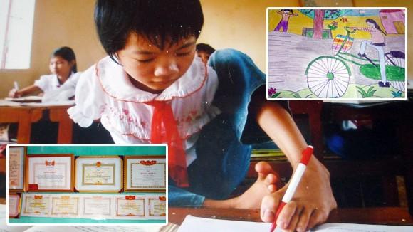 Em bé viết chữ bằng chân và ước mơ làm cô giáo ảnh 1