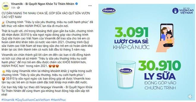 Quỹ sữa Vươn cao Việt Nam 2021 của Vinamilk sẽ có thêm 31.000 ly sữa từ sự tham gia của cộng đồng ảnh 1