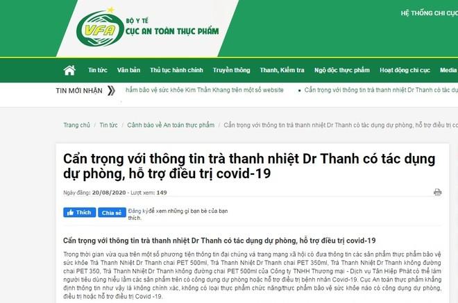 """Tập đoàn Tân Hiệp Phát khẳng định thông tin """"Trà Dr Thanh hỗ trợ điều trị Covid-19"""" là thất thiệt ảnh 1"""