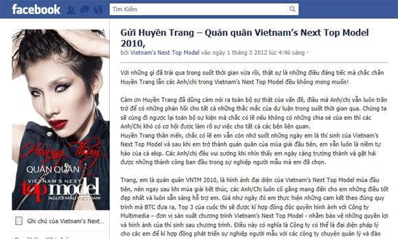 """Vietnam's Next top model đối mặt với thông tin """"quỵt tiền thưởng"""" ảnh 2"""