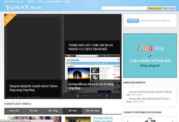 """Yahoo! Blog đóng cửa, dân cư mạng chuyển """"nhà"""" sang Zing ảnh 1"""