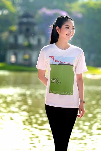 Hoa hậu Ngọc Anh tươi trẻ với áo in tranh cổ động ảnh 10