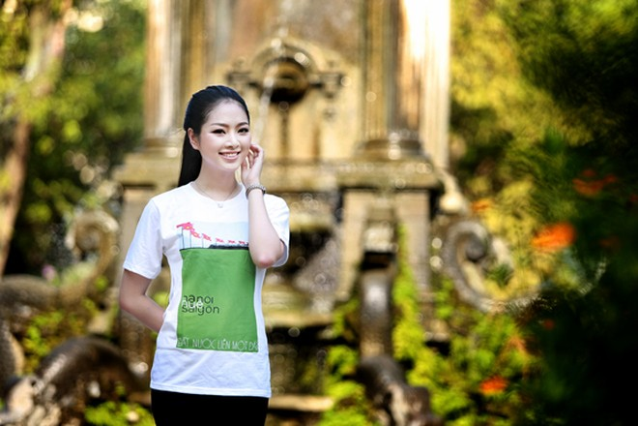 Hoa hậu Ngọc Anh tươi trẻ với áo in tranh cổ động ảnh 11
