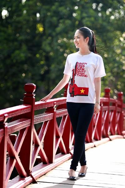 Hoa hậu Ngọc Anh tươi trẻ với áo in tranh cổ động ảnh 6