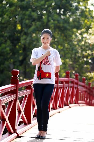 Hoa hậu Ngọc Anh tươi trẻ với áo in tranh cổ động ảnh 7