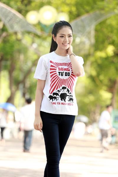Hoa hậu Ngọc Anh tươi trẻ với áo in tranh cổ động ảnh 9